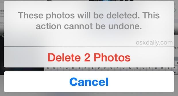 Conferma per eliminare in modo permanente le foto in iOS all'istante