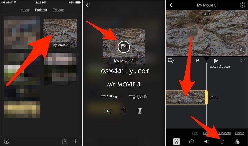 Come inserire la sovrapposizione di testo in video con iMovie per iPhone