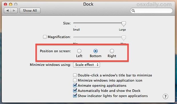 Cambia la posizione del Dock in OS X