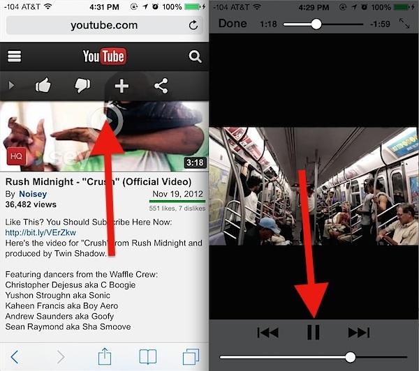 Inizia a riprodurre un video Youtube per lo sfondo in iOS