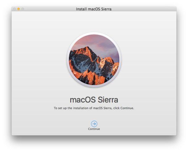 Programma di installazione di MacOS Sierra