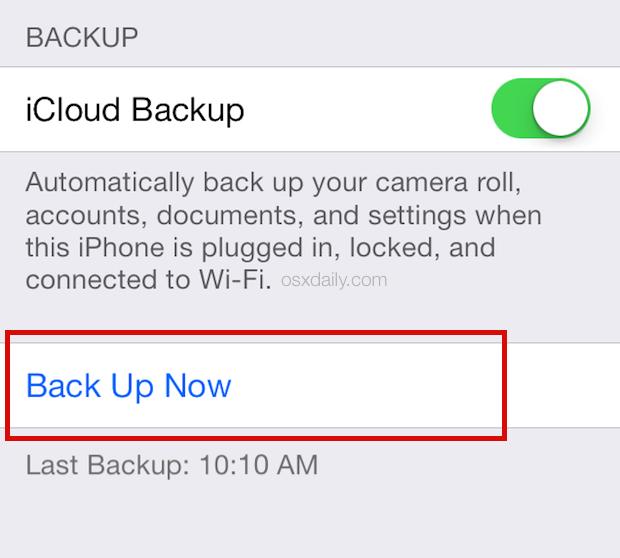 Esegui il backup su iCloud