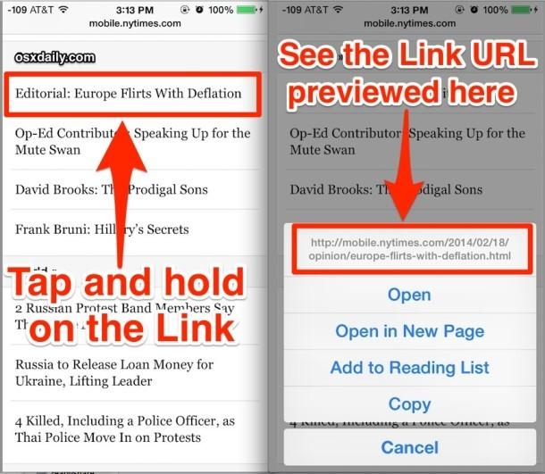Visualizza in anteprima un URL di collegamento in Safari per iOS