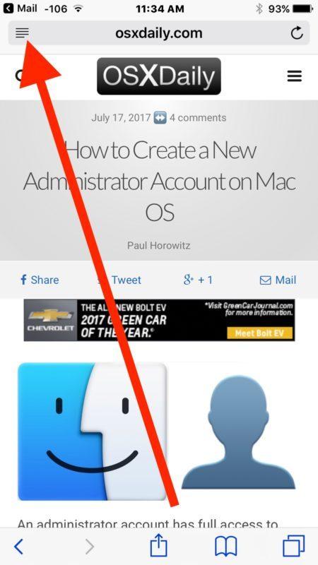 Apri la modalità Reader su iOS Safari