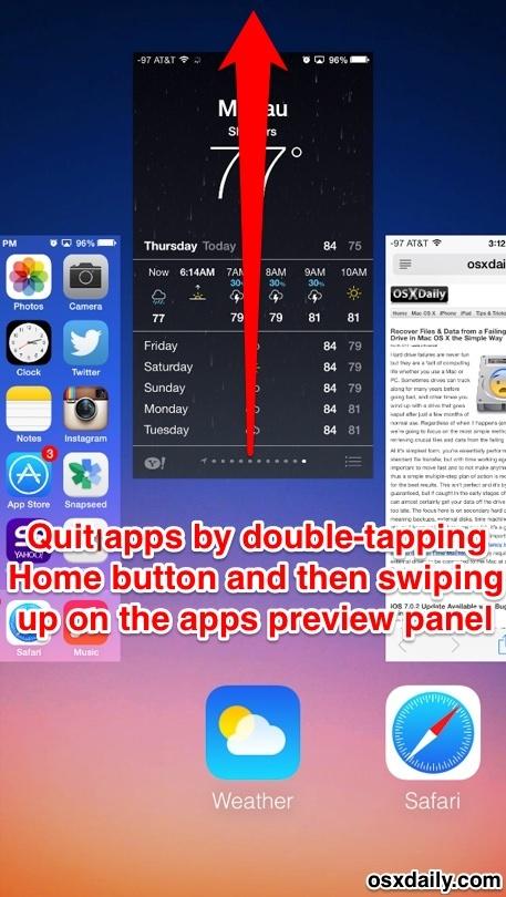 Esci da app in iOS 7 con un gesto verso l'alto