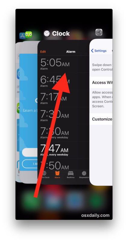 Come chiudere le app su iPhone X, toccare e tenere premuto