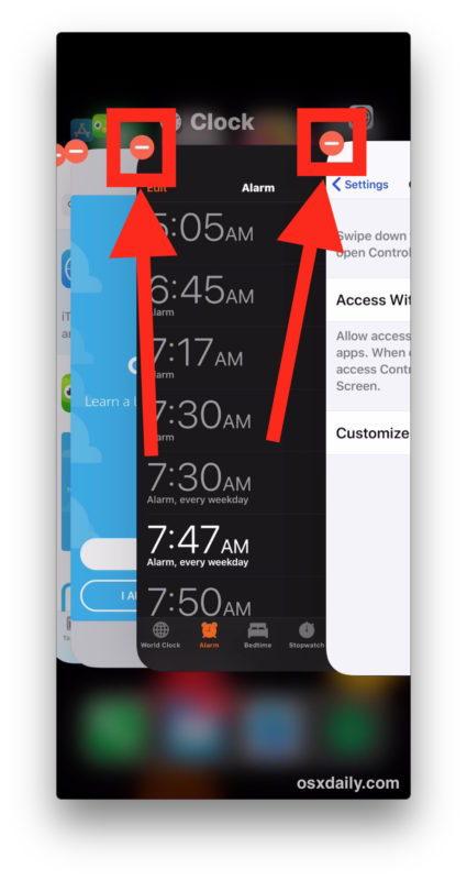 Tocca per chiudere le app su iPhone X.