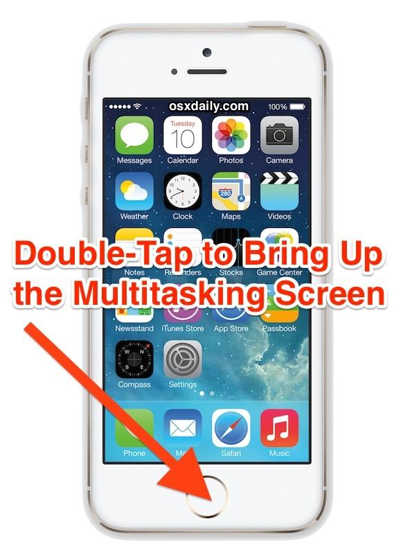 Tocca due volte per richiamare la schermata dell'app multitasking in iOS