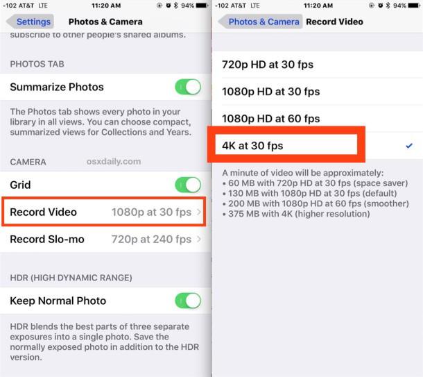 Abilitazione della registrazione video 4K su iPhone Camera