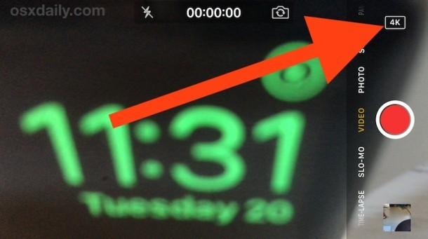 Registrazione di video 4K con iPhone Fotocamera con badge 4k