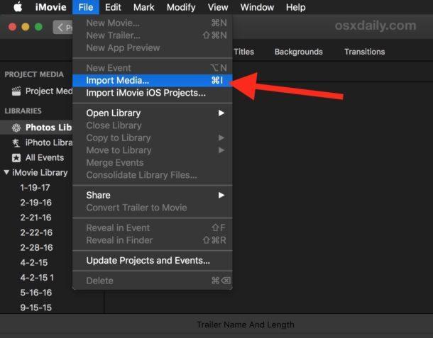 1 Registra un film importando contenuti multimediali in iMovie