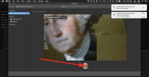 Interrompi la registrazione del film in iMovie