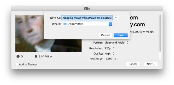 Salvataggio del video registrato da iMovie