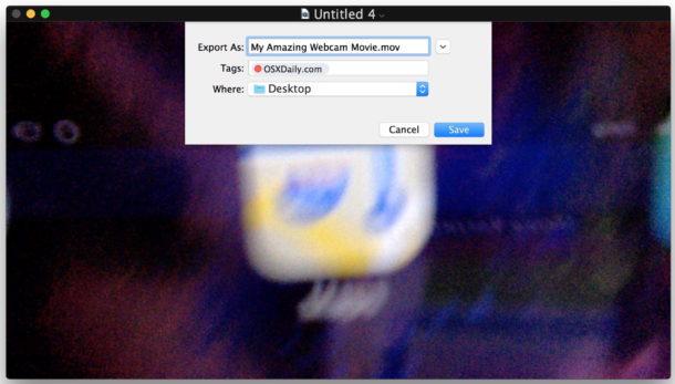 File salvato video registrato su Mac