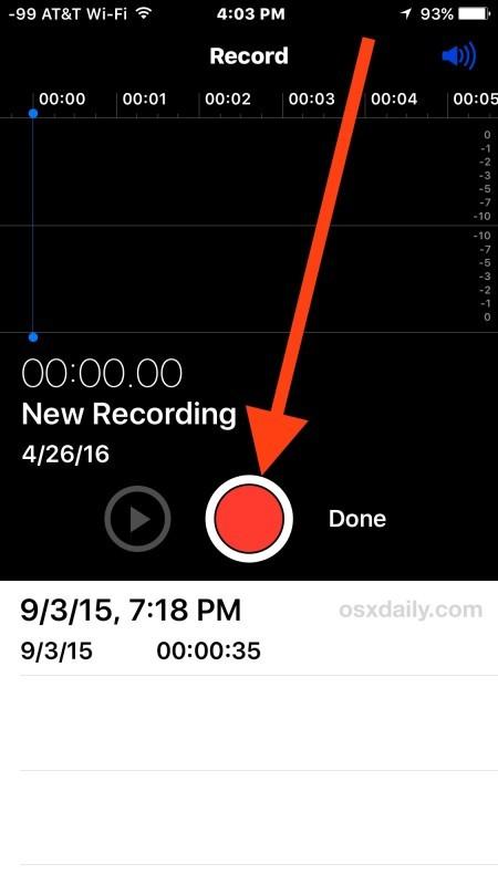 Registra voce o audio con iPhone Voice Memos