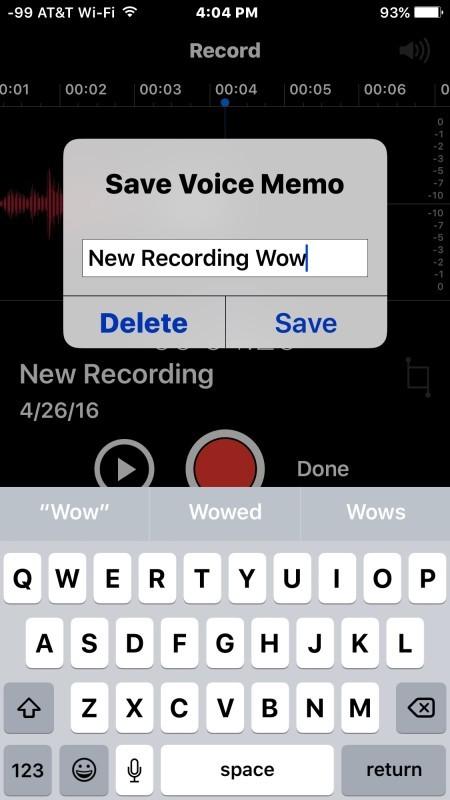 Salva la registrazione audio nei memo vocali