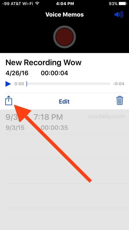 Condividi un audio registrato o un memo vocale da iPhone