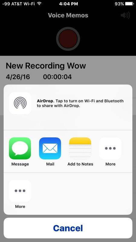 Condividi la registrazione audio vocale tramite messaggi o e-mail