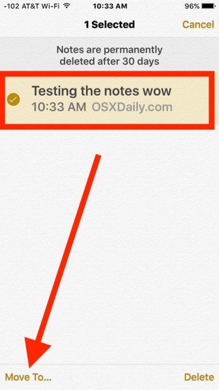 Seleziona la nota cancellata da recuperare in iOS