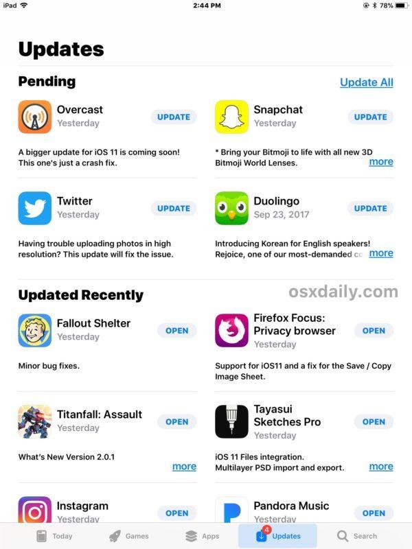 La scheda Aggiornamenti di App Store