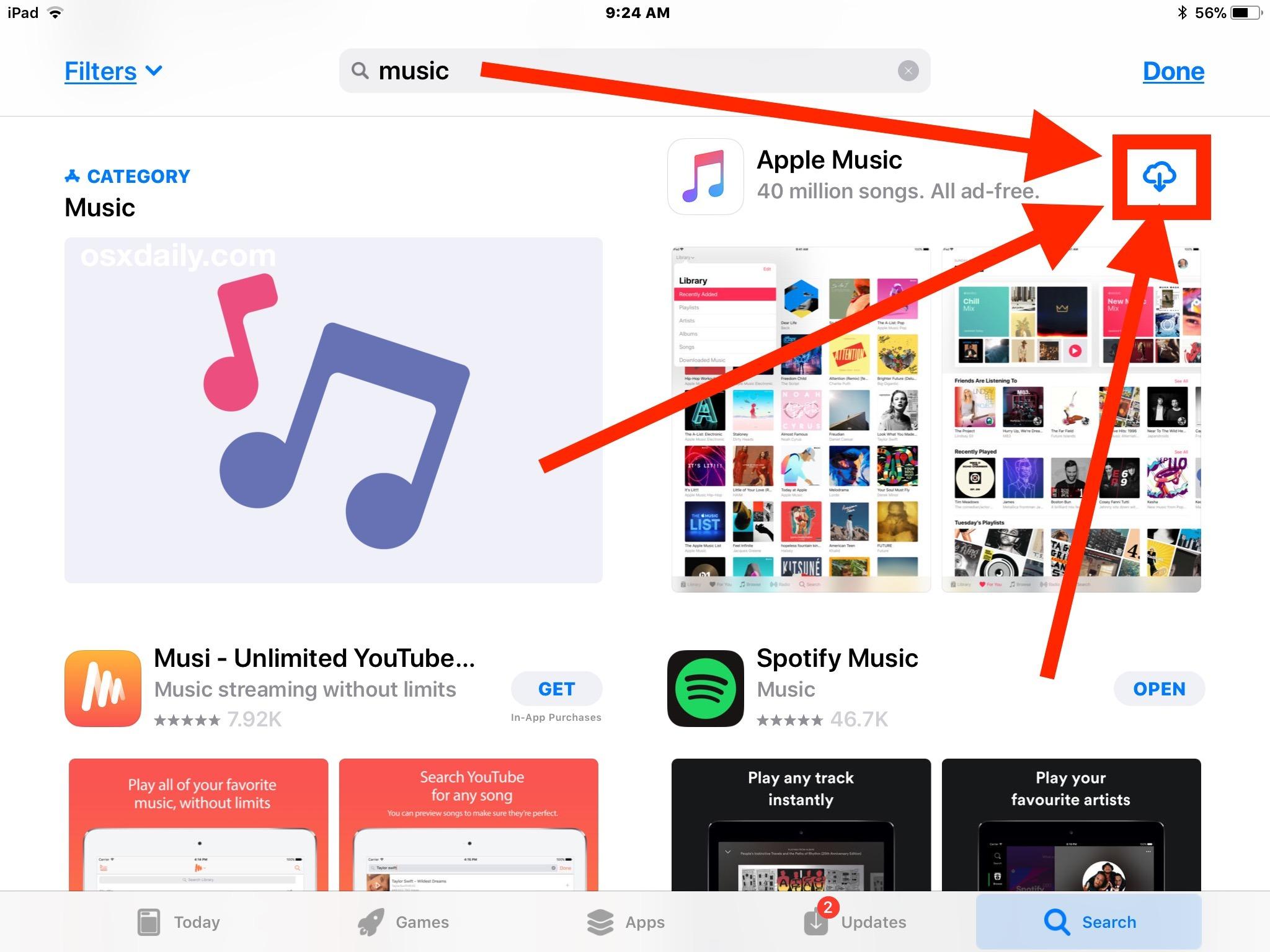 Reinstallare le app predefinite scaricando nuovamente da App Store in iOS