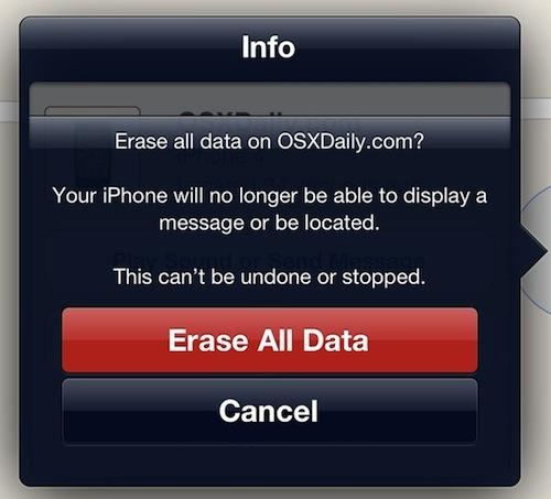 Conferma Cancella tutti i dati su iPhone da Cancellazione remota