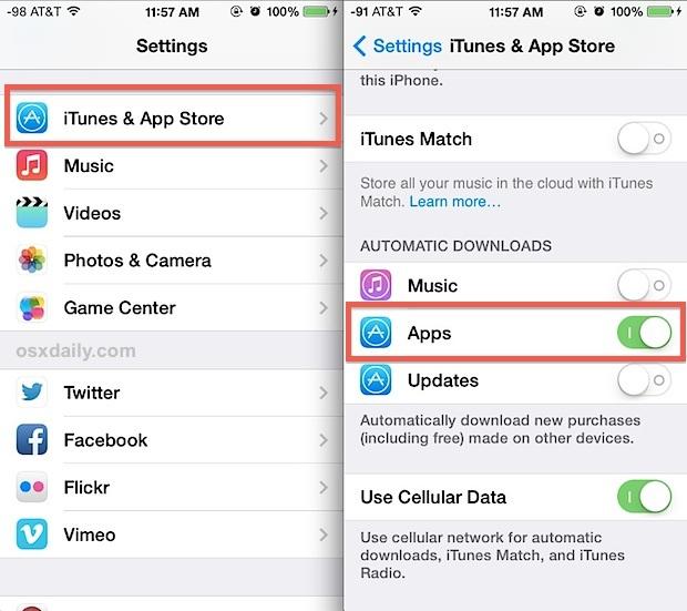 Abilita download di app automatici in iOS