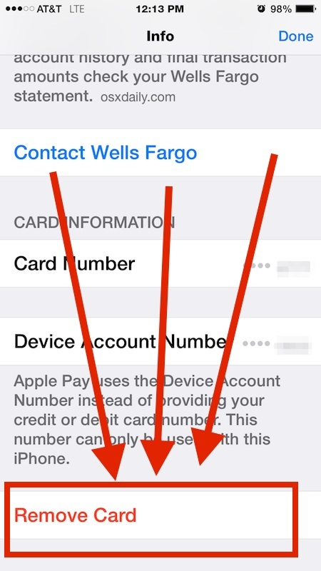 Rimuovi una carta dal libretto di pagamento Apple Pay su iPhone
