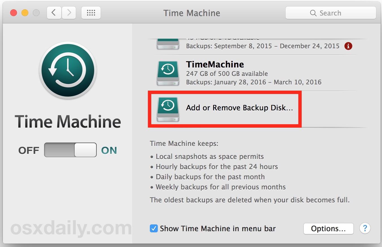 Fare clic per rimuovere un'unità Time Machine