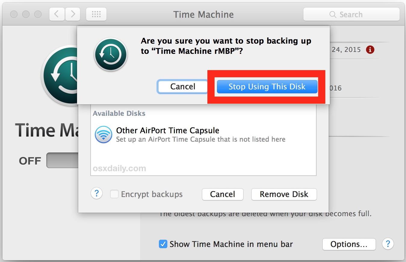 Confermare di rimuovere l'unità e interrompere i backup su quel particolare volume da Time Machine