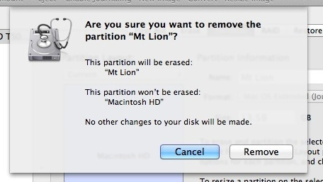 Elimina la partizione di Mt Lion OS X