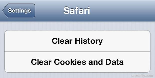 Cancella le cache di Safari in iOS