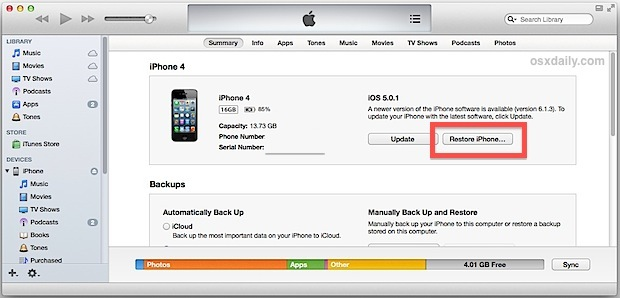 Ripristina iPhone da un backup