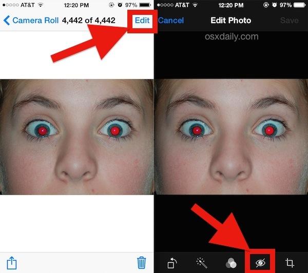 Rimuovi Red Eye dalle foto con iPhone