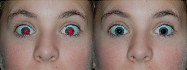 Rimozione occhi rossi su iPhone prima e dopo l'immagine