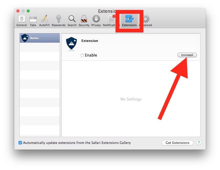 Disinstalla le estensioni di Safari su Mac