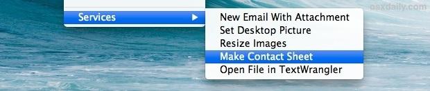 Menu Servizi mostrato nei menu contestuali di Mac OS X
