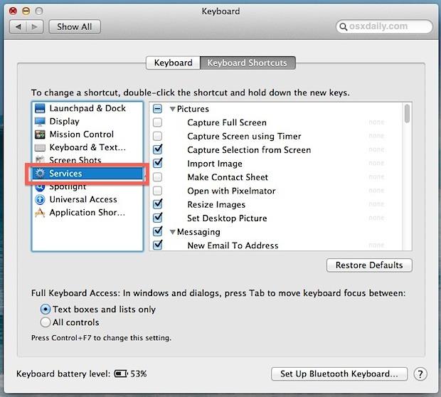 Deseleziona gli elementi per rimuoverli dal menu di scelta rapida Servizi in Mac OS X.
