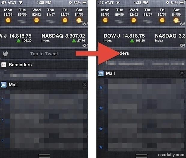 Tocca il pulsante Tweet nel Centro di notifica di iOS