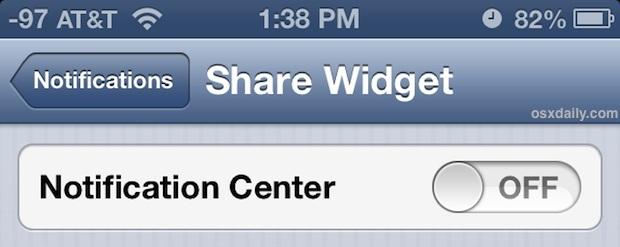 Disabilita i widget di condivisione dall'appare nel Centro di notifica di iOS