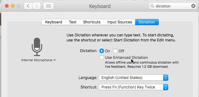 Disabilitare la dettatura avanzata su Mac