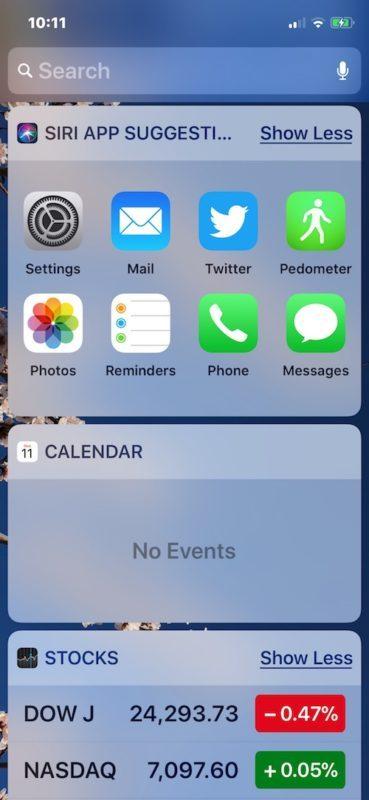 Personalizzazione della schermata Oggi rimuovendo i widget