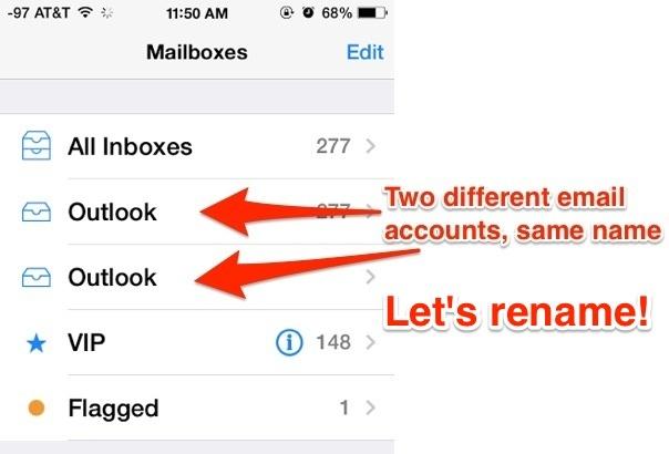 Diversi account di posta con lo stesso nome, rinominare gli account di posta elettronica in iOS
