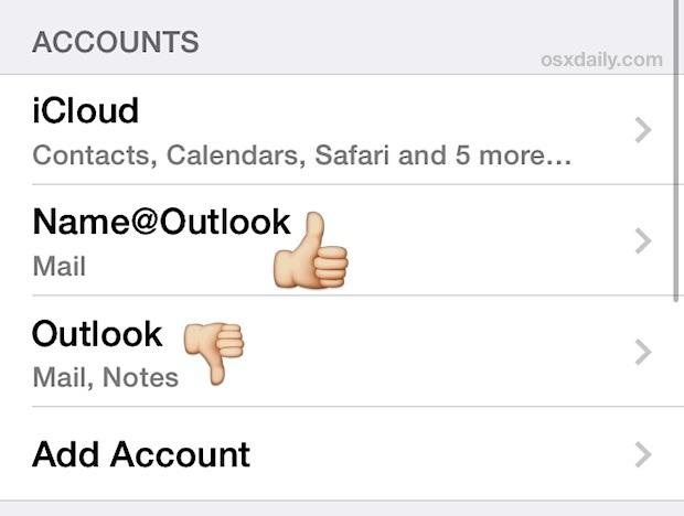 Rinominare un account di posta elettronica in iOS