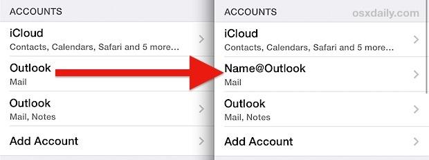Rinominare un account e-mail su iPhone, iPad, iPod touch