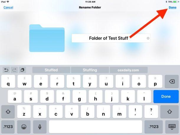 Rinominare una cartella nell'app File per iOS