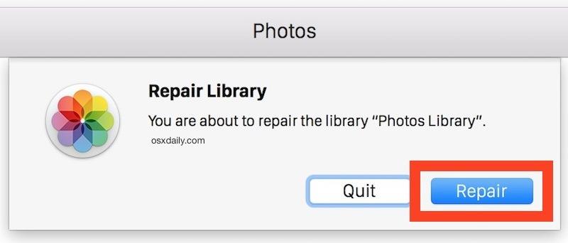 Riparare una libreria di foto in Mac OS X.