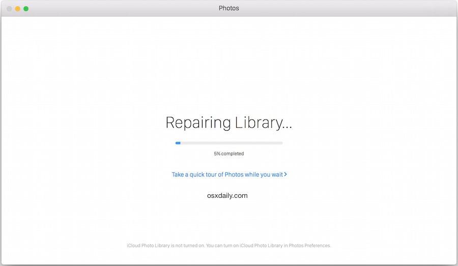 Ripristino della libreria di foto nell'indicatore di avanzamento di Mac OS X.