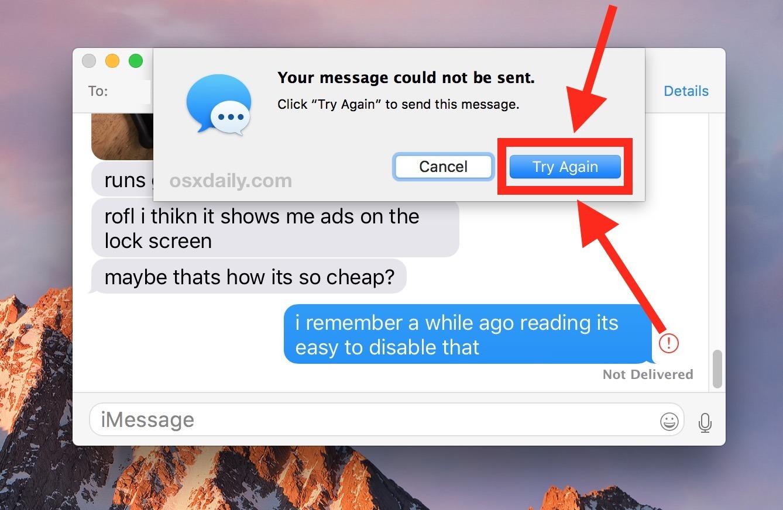 Invia di nuovo un messaggio su Mac