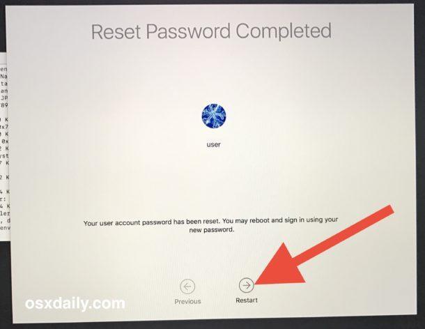 Riavvia il Mac con la password appena ripristinata